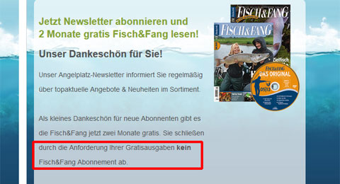Fisch&Fang kein Abo